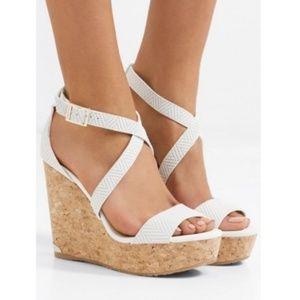 Jimmy Choo Portia Woven Leather Wedge Sandals